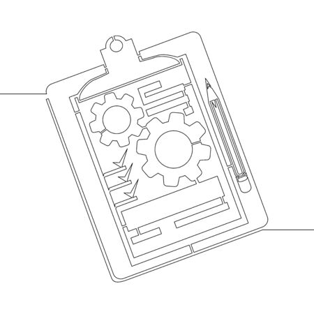 Continuous one single line drawing Clipboard with gear cogwheel Technical support check list icon vector illustration concept