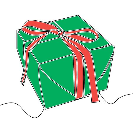 Flat continuous drawing line art Gift box icon vector illustration concept