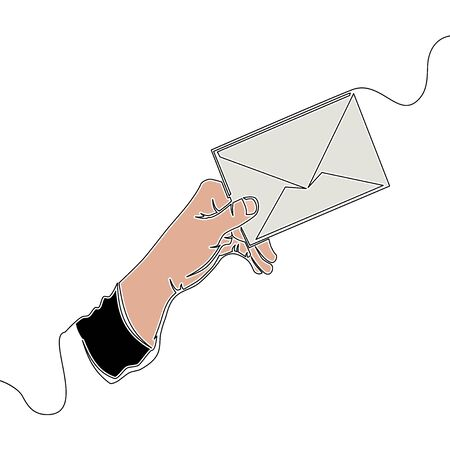 Flat continuous drawing line art Hand holding envelope with letter icon vector illustration concept