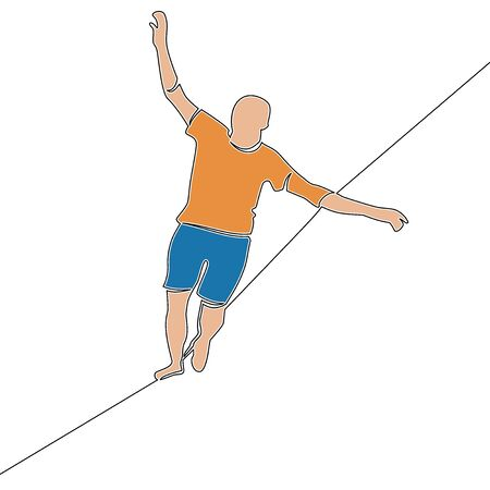 Flat continuous drawing line art man balancing on a rope icon vector illustration concept