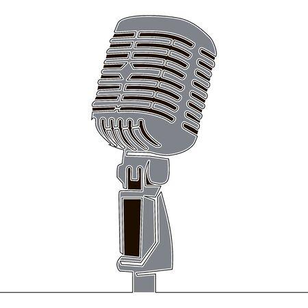 Flat continuous drawing line art retro microphone icon vector illustration concept Illusztráció