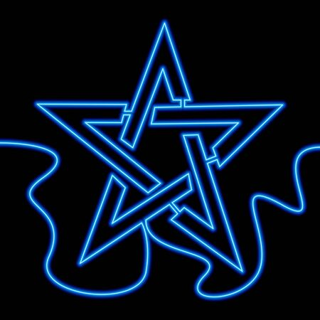 Continuous one single line drawing Star blue icon neon glow vector illustration concept