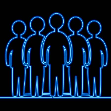 Continuous one single line drawing Group team members icon neon glow vector illustration concept Illusztráció