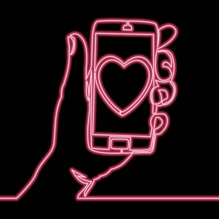 Continuous one single line drawing Sending love message Hand holding phone with heart icon neon glow vector illustration concept Illusztráció