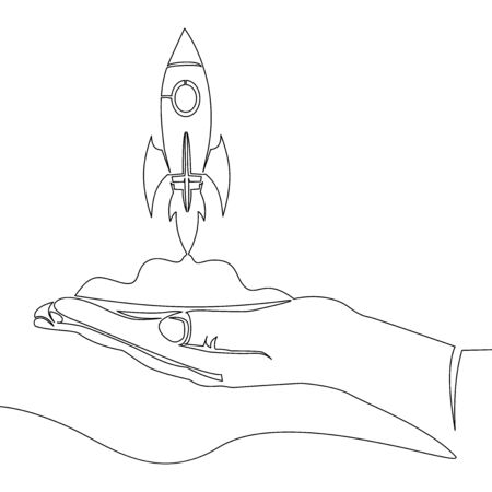 Continuous one single line drawing start up launch project rocket symbol icon vector illustration concept