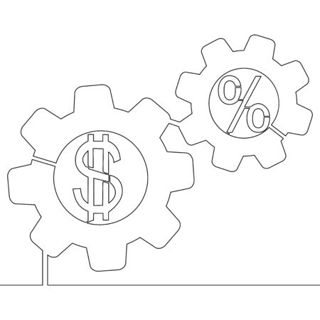 Continuous one single line drawing Gear Dollar percent investments icon vector illustration concept Illusztráció