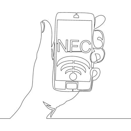 Continuous one single line drawing NFC payment smartphone icon vector illustration concept