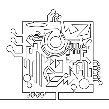 Continuous one single line drawing Microchip icon vector illustration concept