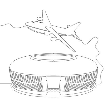 Continuous one single line drawing airport with airplane icon vector illustration concept Illusztráció