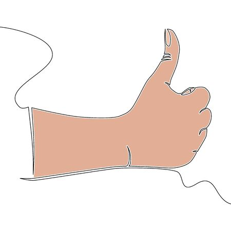 Flat colorful continuous drawing line art Hand with thumb up icon vector illustration concept Illusztráció