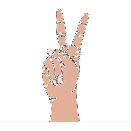 Flat colorful continuous drawing line art Hand Peace Victory Sign Gesture icon vector illustration concept Illusztráció