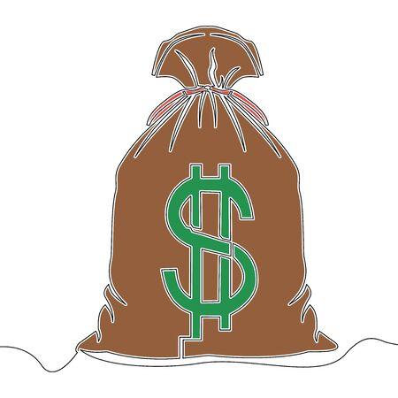 Flat colorful continuous drawing line art money bag with dollar icon vector illustration concept Illusztráció