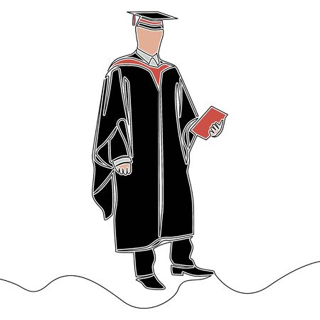 Flat colorful continuous drawing line art male graduate in gown and graduation cap icon vector illustration concept