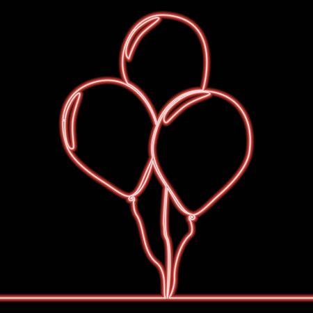 Continuous one single line drawing celebration balloons decoration icon neon glow vector illustration concept Illusztráció