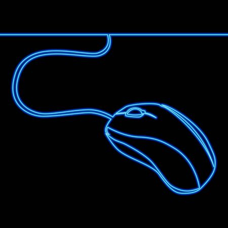 Continuous one single line drawing computer mouse icon neon glow vector illustration concept