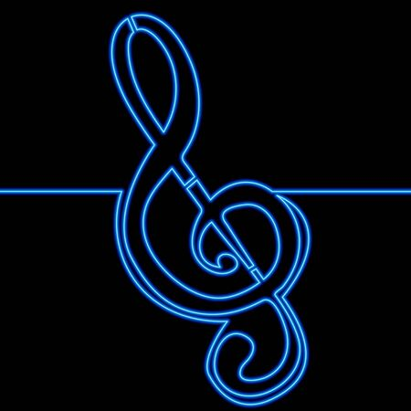 Continuous one single line drawing Treble clef Classical music concert icon neon glow vector illustration concept