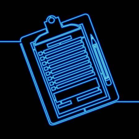 Continuous one single line drawing Document clipboard with pencil icon neon glow vector illustration concept Illusztráció