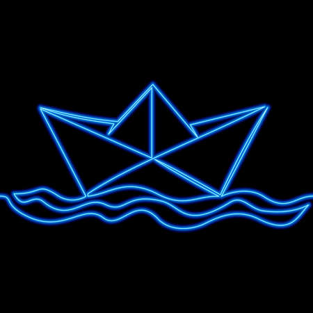 Continuous one single line drawing Boat paper ship icon neon glow vector illustration concept Ilustração