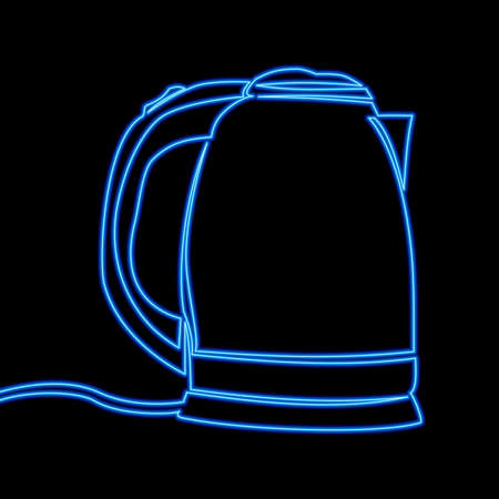 Continuous one single line drawing Electric kettle icon neon glow vector illustration concept