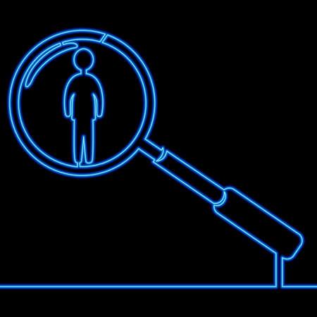 Continuous one single line drawing Search people blue icon neon glow vector illustration concept Illusztráció