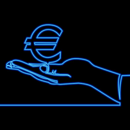Continuous one single line drawing Hand With Euro icon neon glow vector illustration concept
