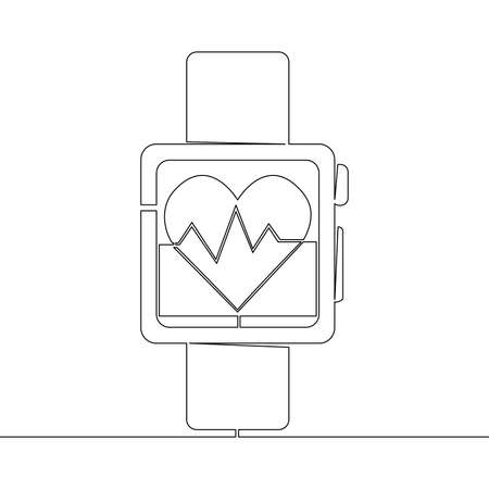 Continuous one single line drawing Fitness Smart watch icon vector illustration concept Illusztráció