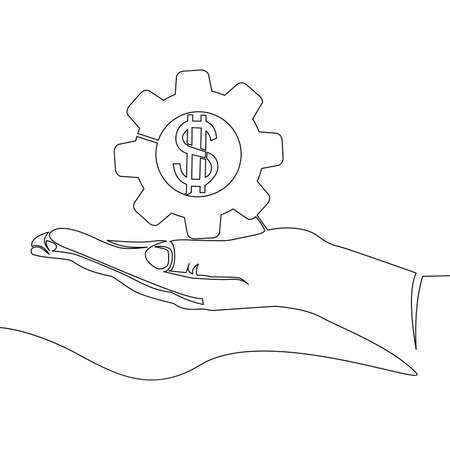 Continuous one single line drawing hand with money gear business icon vector illustration concept