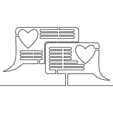 Continuous one single line drawing Love chat comment icon vector illustration concept Illusztráció