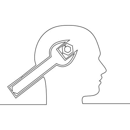 Continuous one single line drawing Human head and a wrench Mental health icon vector illustration concept