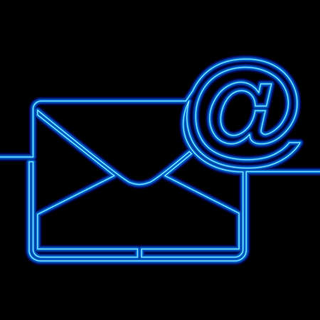 Continuous one single line drawing envelope Mail blue icon neon glow vector illustration concept