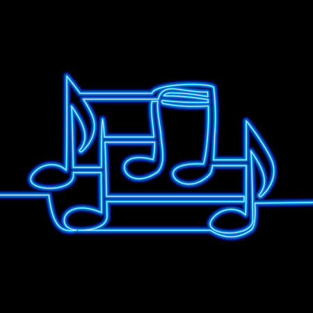Continuous one single line drawing music notes icon neon glow vector illustration concept