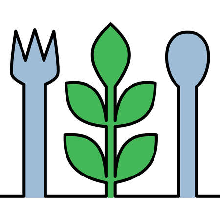Flat colorful continuous drawing line art vegetarian food icon vector illustration concept