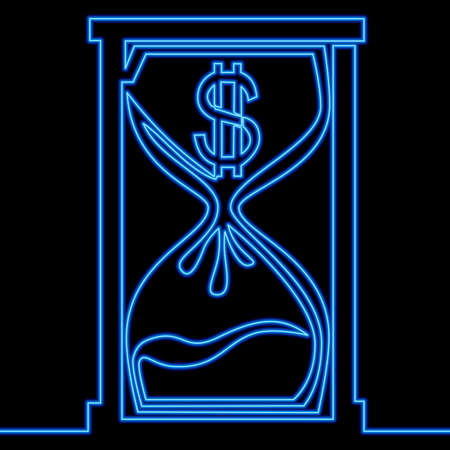 Continuous one single line drawing dollar hourglass clock Time is money icon neon glow vector illustration concept Imagens - 156526800