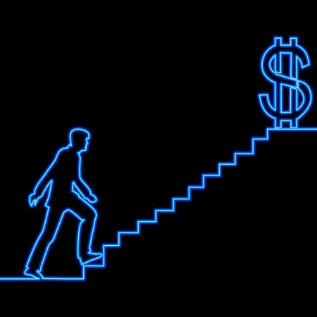 Continuous one single line drawing Man on Stairs of success icon neon glow vector illustration concept