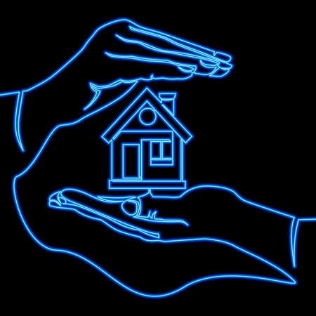 Continuous one single line drawing hands holding house home protection icon neon glow vector illustration concept