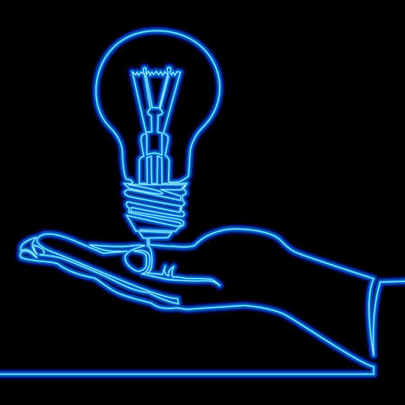 Continuous one single line drawing Abstract hand holding light bulb idea icon neon glow vector illustration concept Ilustrace