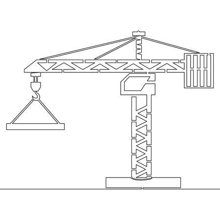 Continuous one single line drawing construction crane icon vector illustration concept