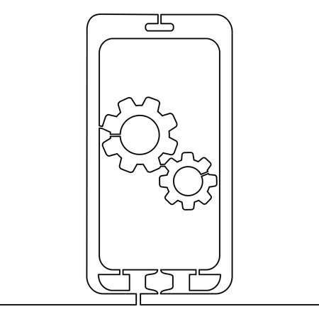 Continuous one single line drawing Mobile app development service application icon vector illustration concept Illustration