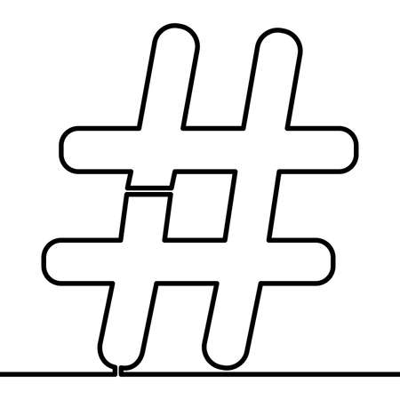 Continuous one single line drawing Hashtag symbol icon vector illustration concept Ilustração