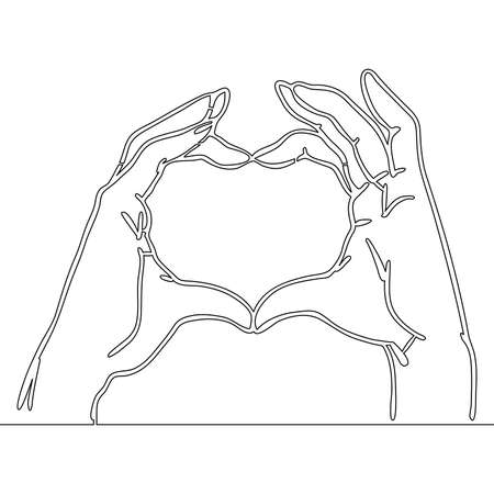 Continuous one single line drawing hands heart shape love icon vector illustration concept