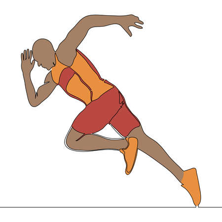 Flat colorful continuous drawing line art abstract athlete running man icon vector illustration concept Ilustração