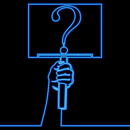 Continuous one single line drawing Hand holding question mark Help sign FAQ icon neon glow vector illustration concept Ilustração