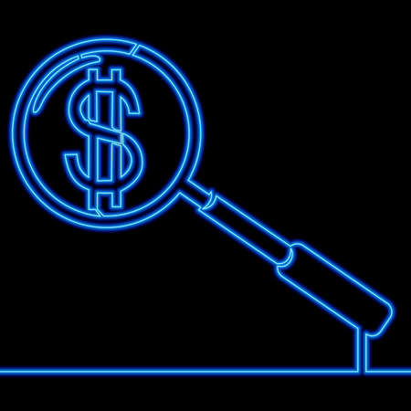 Continuous one single line drawing magnifier with dollar icon neon glow vector illustration concept