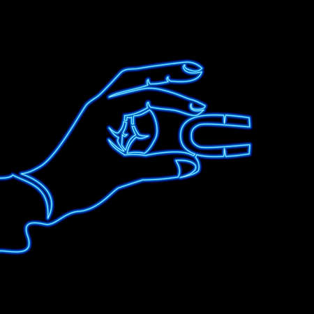 Continuous one single line drawing Customer attraction strategy Hand holding magnet icon neon glow vector illustration concept