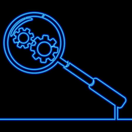 Continuous one single line drawing zoon with gear Search engine optimization icon neon glow vector illustration concept Ilustração