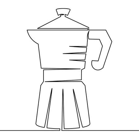 Continuous one single line drawing geyser coffee maker icon vector illustration concept