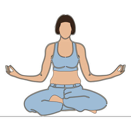 Flat colorful continuous drawing line art woman meditating with crossed legs Relaxation icon vector illustration concept Ilustração