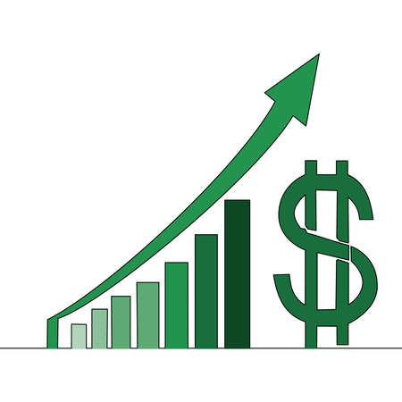 Flat colorful continuous drawing line art Increasing revenue profit dollar graphs benefit icon vector illustration concept