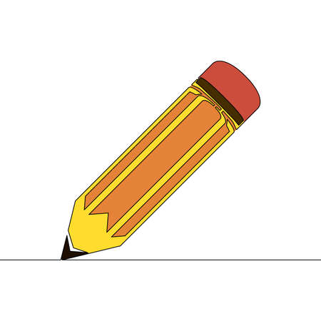 Flat colorful continuous drawing line art Pencil icon vector illustration concept