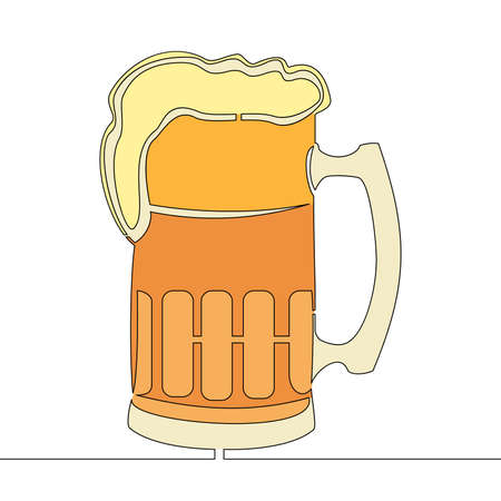 Flat colorful continuous drawing line art Mug of beer icon vector illustration concept